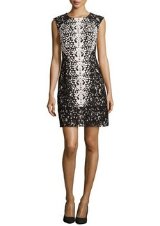 Kay Unger New York Jacquard Cocktail Dress with Lace
