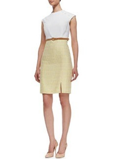 Kay Unger New York Knit & Tweed Combo Jewel-Neck Dress, White/Yellow