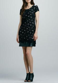 Kay Unger New York Lace & Faux-Leather Combo Dress