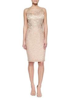 Kay Unger New York Lace-Bodice Tweed Sheath Dress