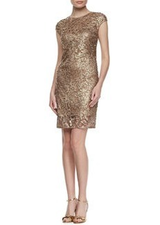 Kay Unger New York Lace Mesh Embroidered Cocktail Dress