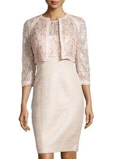 Kay Unger New York Lace Metallic Tweed Cocktail Dress, Bisque