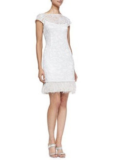 Kay Unger New York Lace Overlay Cocktail Dress W/ Feather Hem