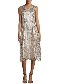 Kay Unger New York Lace, Sequin & Beaded Cocktail Dress