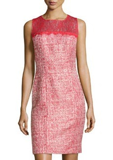 Kay Unger New York Lace Top Metallic Tweed Cocktail Dress, Cherry