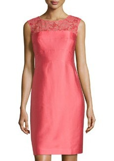 Kay Unger New York Lace-Yoke Sleeveless Cocktail Dress, Coral