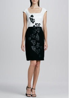Kay Unger New York Leather-Bodice Cocktail Dress