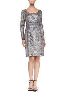 Kay Unger New York Long-Sleeve Horizon Lace Cocktail Dress