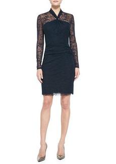 Kay Unger New York Long-Sleeve Lace Overlay Sheath Dress