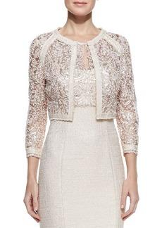 Kay Unger New York Long-Sleeve  Metallic Lace Jacket