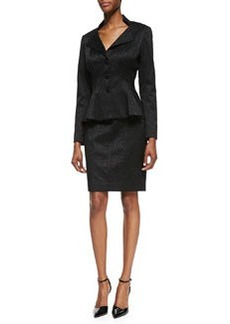 Kay Unger New York Long-Sleeve Three-Button Peplum Skirt Suit