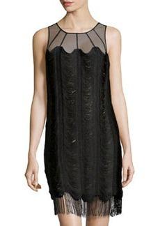 Kay Unger New York Mesh-Yoke Fringe Cocktail Dress