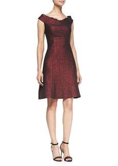 Kay Unger New York Metallic Cap-Sleeve A-line Dress