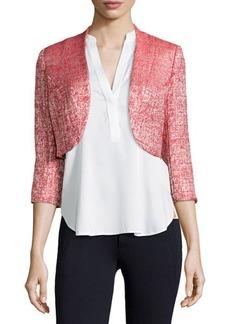Kay Unger New York Metallic Cropped Open-Front Tweed Jacket