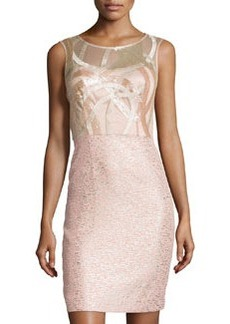 Kay Unger New York Metallic Embroidered Sleeveless Cocktail Dress, Blush/Multi
