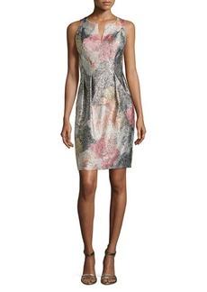 Kay Unger New York Metallic Floral Jacquard Cocktail Dress