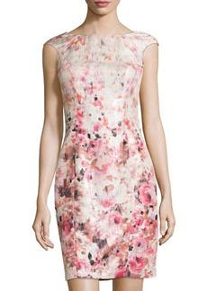 Kay Unger New York Metallic Floral-Print Sheath Cocktail Dress