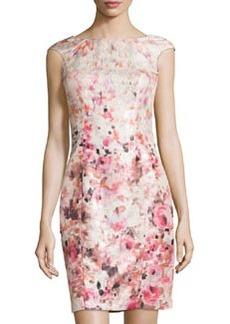 Kay Unger New York Metallic Floral-Print Sheath Cocktail Dress, Blush Multi
