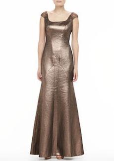 Kay Unger New York Metallic Scoop-Neck Flare Gown