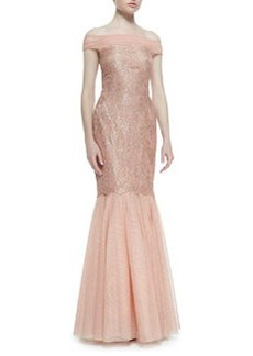 Kay Unger New York Off-Shoulder Lace Body Mermaid Gown, Coral