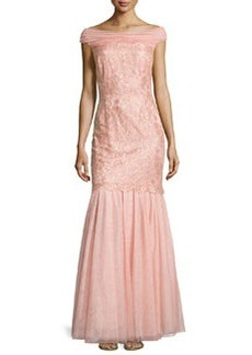 Kay Unger New York Off-Shoulder Lace/Tulle Mermaid Gown