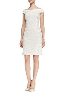 Kay Unger New York Off-Shoulder Reptile Print Sheath Dress, White