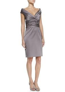 Kay Unger New York Off-Shoulder Ruched-Bodice Cocktail Sheath Dress