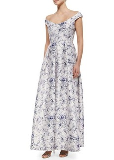 Kay Unger New York Off-the-Shoulder Floral-Print Ball Gown