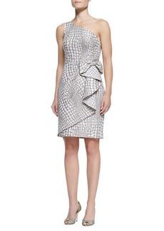 Kay Unger New York One-Shoulder Waist-Bow Cocktail Dress, Mocha