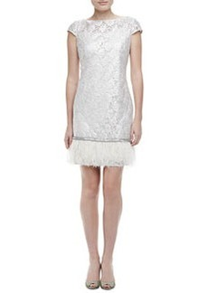 Kay Unger New York Ostrich Feather Cocktail Dress