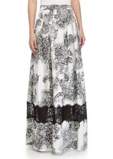 Kay Unger New York Paisley-Print Ball Skirt, Black/White