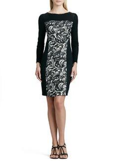 Kay Unger New York Paneled Printed Sweaterdress