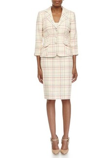 Kay Unger New York Plaid Knit Jacket & Pencil Skirt Suit, Cream Multi
