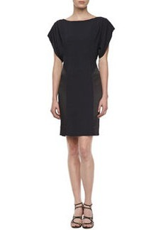 Kay Unger New York Pleated Shoulder Batwing Dress, Black/Blue
