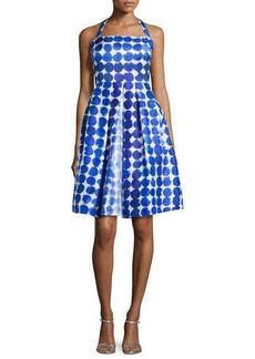Kay Unger New York Polka-Dot Party Dress, Blue/White