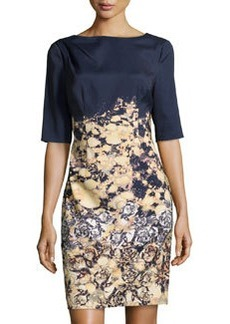 Kay Unger New York Printed Elbow-Sleeve Dress, Yellow Multi