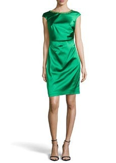 Kay Unger New York Ruched Satin Cocktail Dress