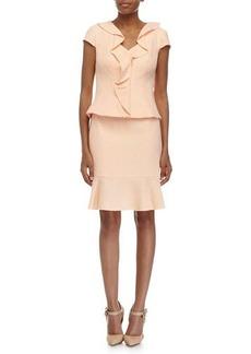 Kay Unger New York Ruffle-Front Jacket & Pencil Skirt Suit, Orange/White