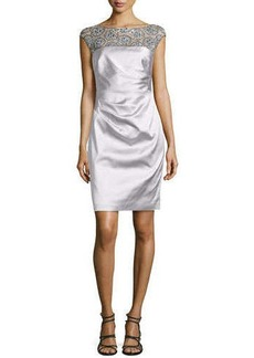 Kay Unger New York Satin Dress with Beaded Illusion Neckline