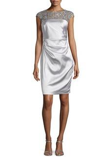 Kay Unger New York Satin Dress with Beaded Illusion Neckline