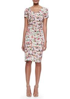 Kay Unger New York Scoop-Neck Floral-Print Sheath Dress