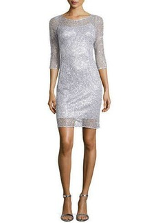 Kay Unger New York Sequin & Lace Cocktail Dress