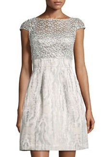 Kay Unger New York Sequined Lace Cocktail Dress, Silver