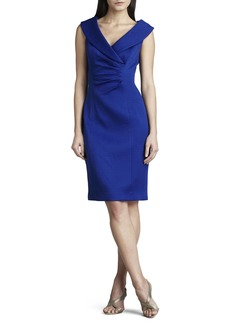 Kay Unger New York Shawl-Collar Pique Dress