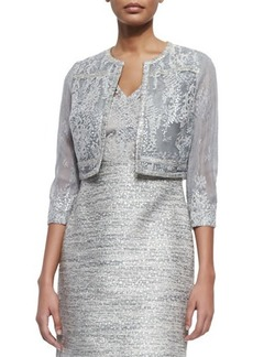 Kay Unger New York Sheer Cropped Jacket with Beaded Lace