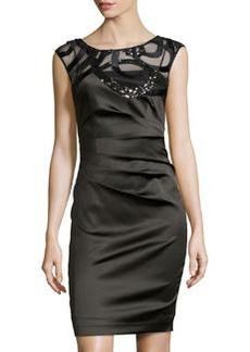Kay Unger New York Sheer Embellished Cocktail Dress, Black/Multi