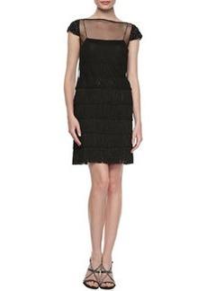 Kay Unger New York Sheer Overlay Cocktail Dress