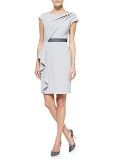 Kay Unger New York Short-Sleeve Asymmetric Draped Front Dress