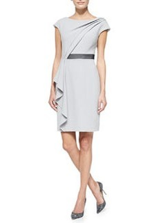Kay Unger New York Short-Sleeve Asymmetric Draped Front Dress