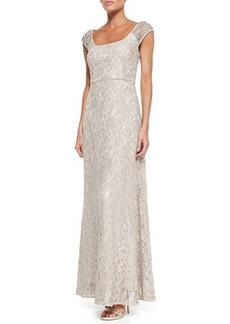 Kay Unger New York Short-Sleeve Beaded Shoulder Dress
